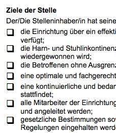 Stellenbeschreibung - Kontinenzbeauftragte/r