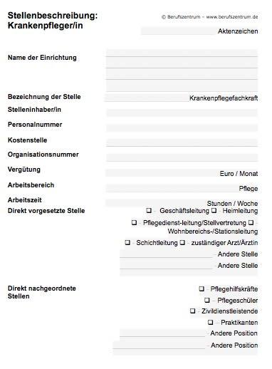Stellenbeschreibung - Krankenpflegefachkraft
