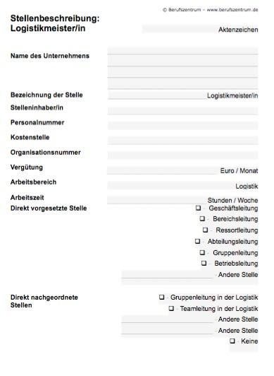 Stellenbeschreibung - Logistikmeister/in
