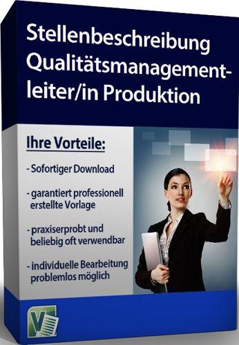 Stellenbeschreibung - Qualitätsmanagementleiter/in Produktion