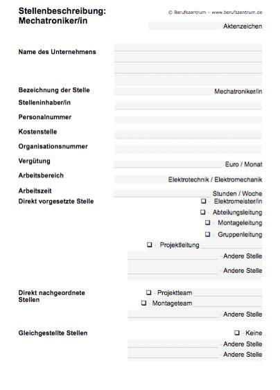 Stellenbeschreibung - Mechatroniker/in