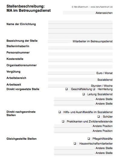 Stellenbeschreibung - Mitarbeiter/in im Betreuungsdienst