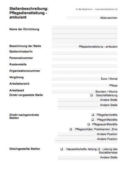 Stellenbeschreibung - Leitung Pflegedienst - ambulant (Formular)