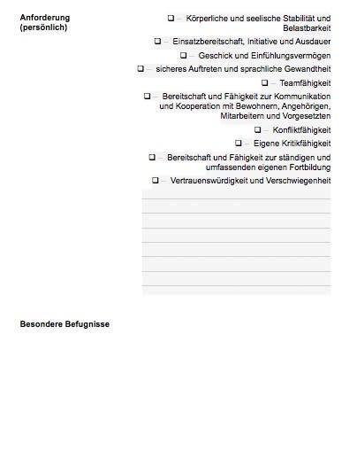 Stellenbeschreibung - Pflegehilfskraft (Formular)