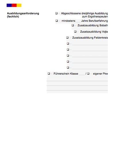 Stellenbeschreibung - Physiotherapeut/in (Formular)