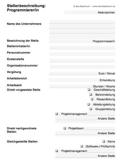 Stellenbeschreibung - Programmierer/in