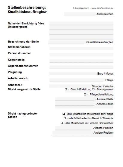 Stellenbeschreibung - Qualitätsbeauftragte/r im Gesundheits- und Sozialbereich