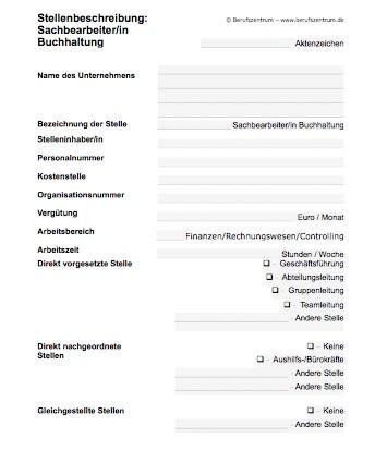 Stellenbeschreibung - Sachbearbeiter/in in der Buchhaltung