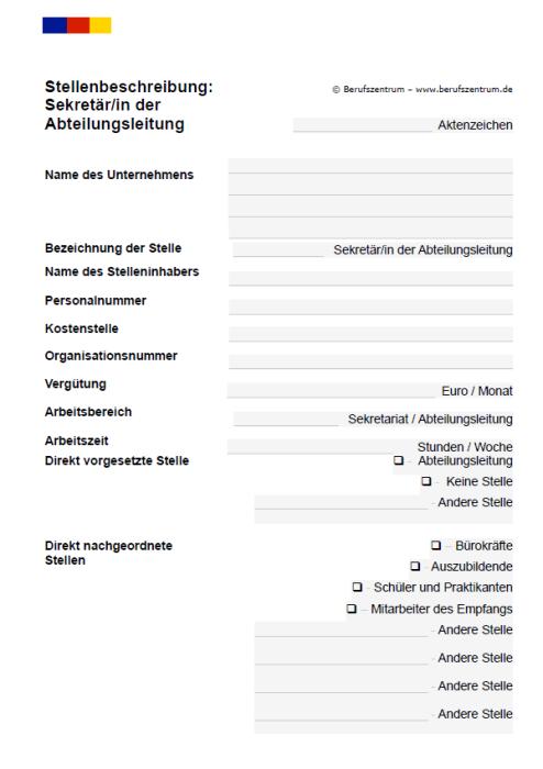 Stellenbeschreibung - Sekretär/in der Abteilungsleitung
