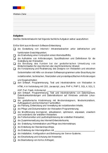 Stellenbeschreibung - Webentwickler/in