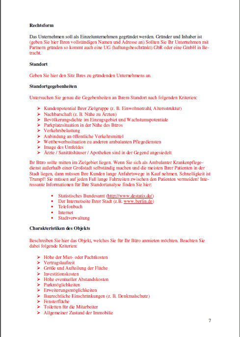 Businessplan - Ambulante Pflege