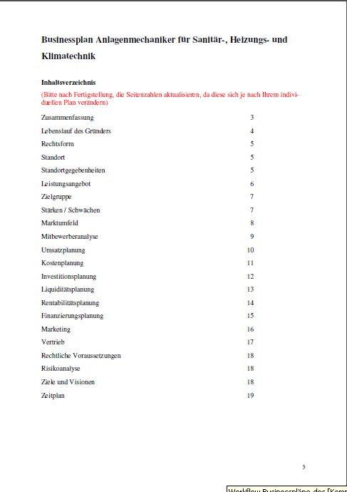 Businessplan - Anlagenmechaniker (Sanitär-, Heizungs- und Klimatechnik)