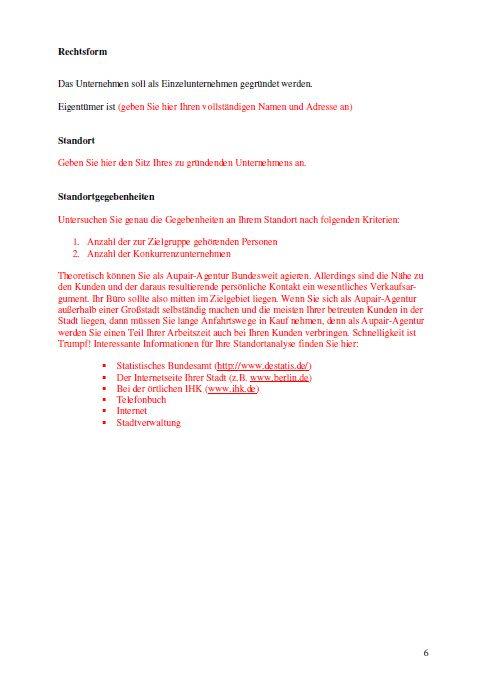 Businessplan - Aupair-Agentur