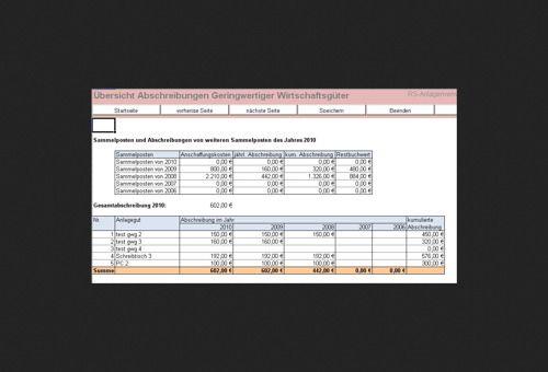 RS-Anlagenverwaltung mit Excel