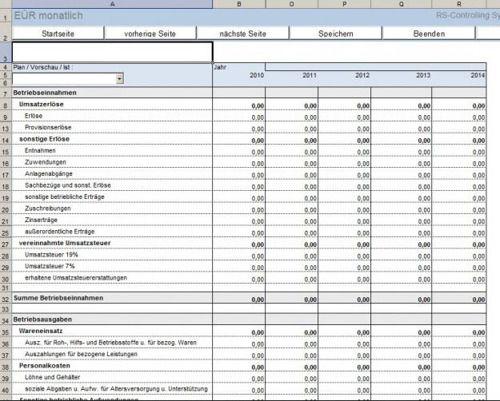 RS-Controlling-System in Excel für EÜR inkl. Liquiditätsplanung