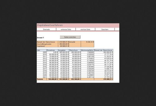 RS-Investitionsrechner in Excel