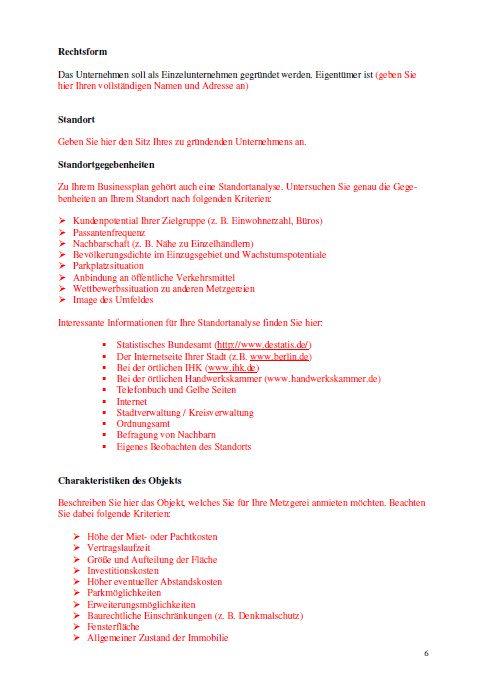 Businessplan - Fleischerei (Metzgerei)