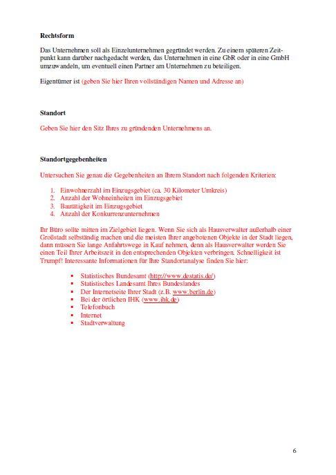 Businessplan - Hausverwalter