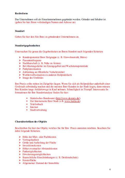 Businessplan - Heilpraktiker