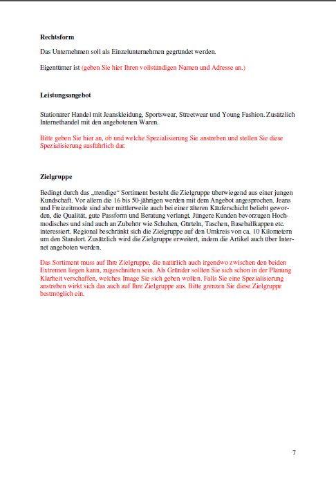 Businessplan - Jeansladen