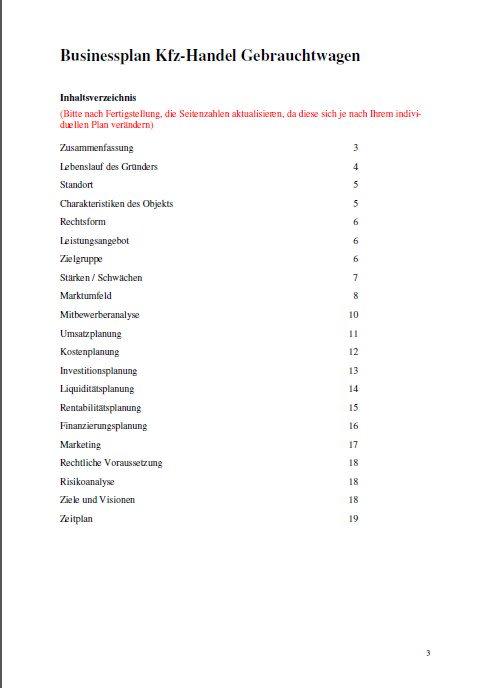 Businessplan - Kfz-Handel (Gebrauchtwagen)