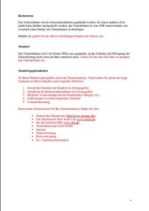 Businessplan - Kinderparty-Service