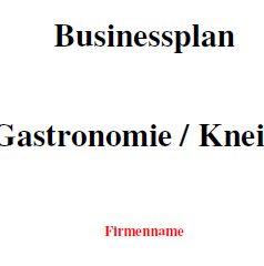 Businessplan - Kneipe