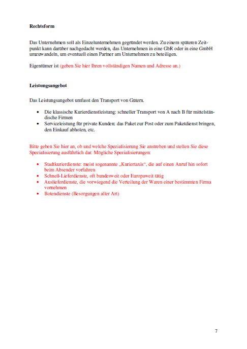 Businessplan - Kurierdienst
