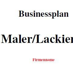 Businessplan - Maler und Lackierer