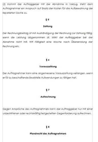 Allgemeine Geschäftsbedingungen (AGB) für Reparaturaufträge
