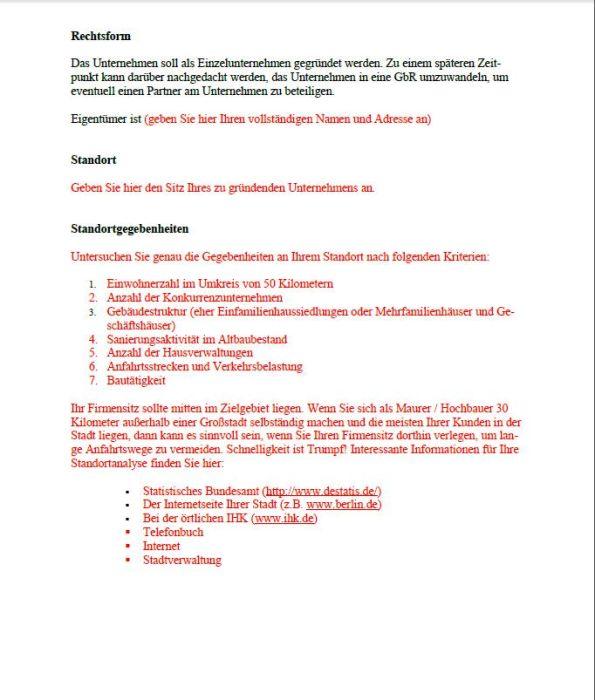 Businessplan - Maurer/Hochbau