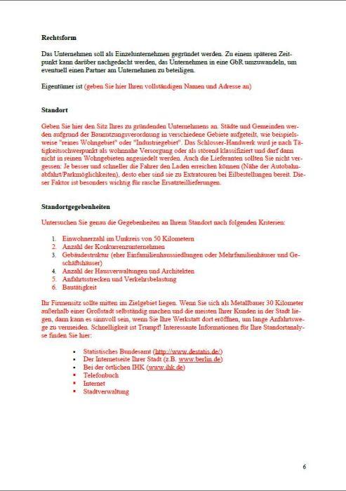 Businessplan - Metallbauer