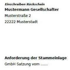 Muster-Anforderung einer GmbH Stammeinlage