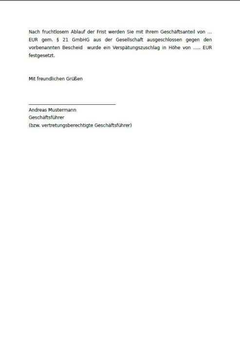 Muster-Anforderung einer GmbH Stammeinlage, Verfallsandrohung