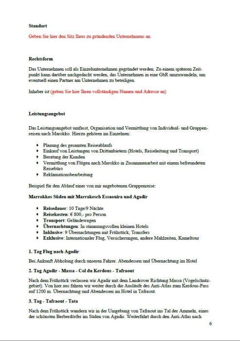 Businessplan - Reiseveranstalter