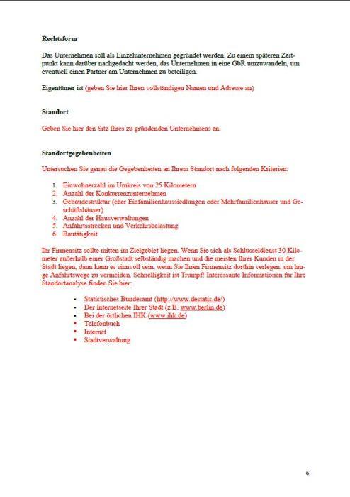Businessplan - Schlüsseldienst