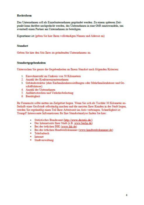 Businessplan - Tischler