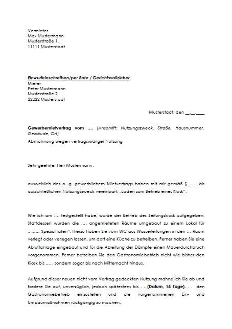 Abmahnung des Vermieters wegen vertragswidriger Nutzung, gewerblicher Mietvertrag