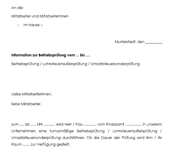 Arbeitgeberschreiben, Mitarbeiter-Information zur Betriebsprüfung (Muster)