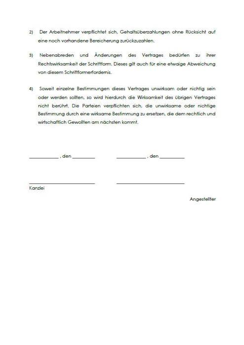 Arbeitsvertrag mit einem Rechtsanwalt