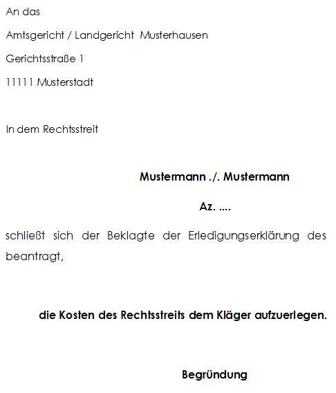 Gerichtsverfahren Anschlusserklärung des Beklagten zur Erledigungserklärung des Klägers