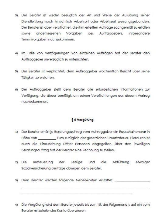Muster-Beratervertrag mit Pauschalhonorar
