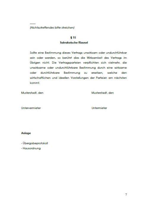 Untermietvertrag für ein WG Zimmer (möbliert / unmöbliert)