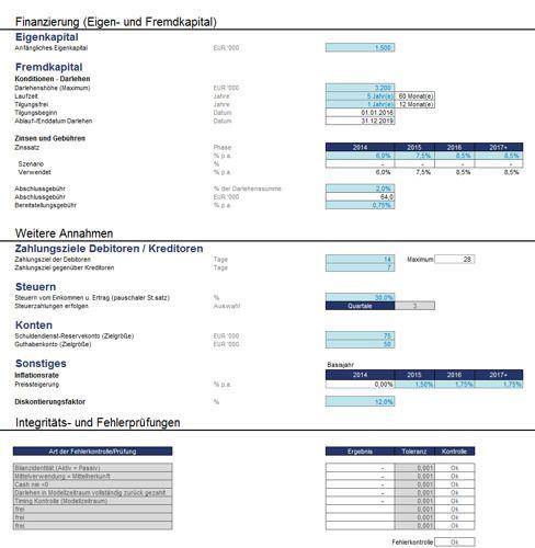 Projekt-Finanzierungsmodell als Excel-Vorlage