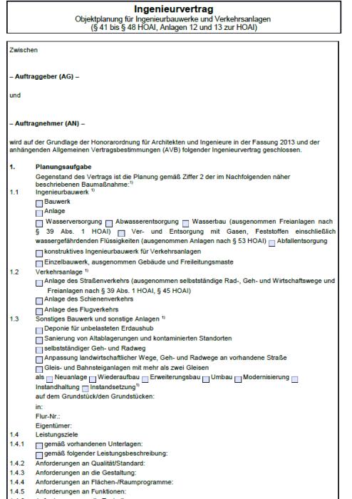 Ingenieurvertrag für Objektplanung Ingenieurbauwerke und Verkehrsanlagen