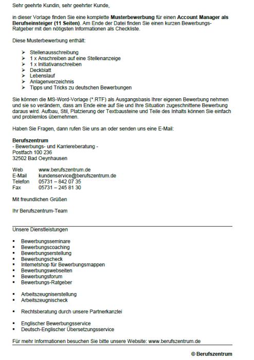 Bewerbung - Account Manager (Berufseinsteiger)