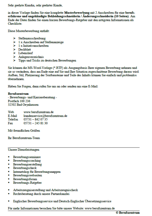 Bewerbungs - Änderungsschneiderin, ungekündigt (Berufserfahrung)