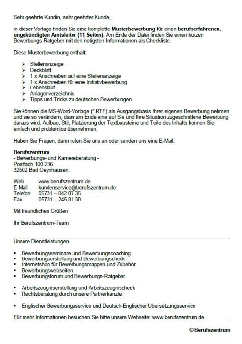 Bewerbung - Amtsleiter, ungekündigt (Berufserfahrung)