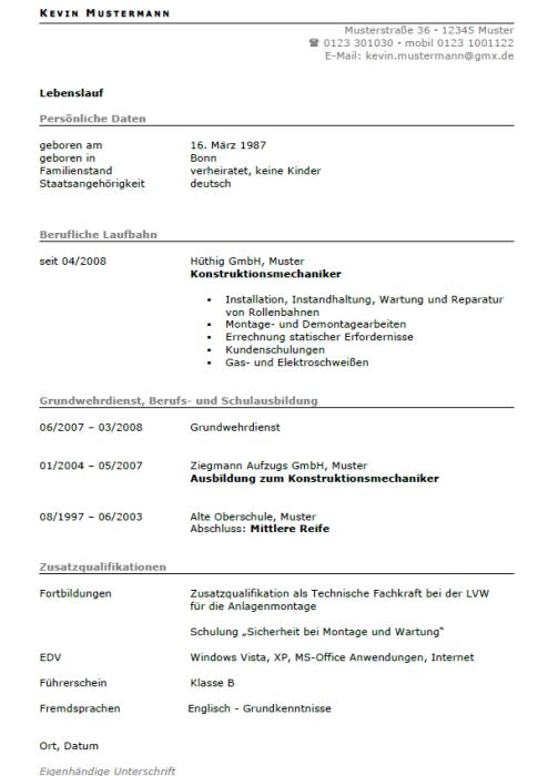 Bewerbung - Anlagenmechaniker (Berufseinsteiger)