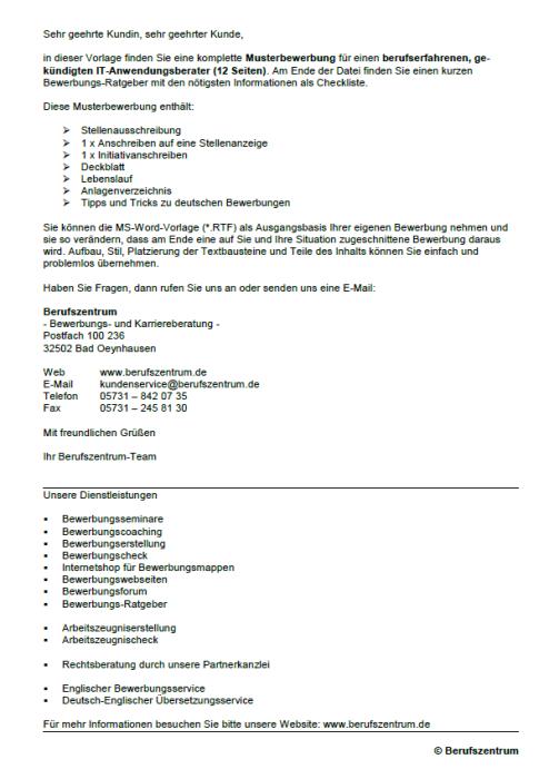 Bewerbung - IT - Anwendungsberater, gekündigt (Berufserfahrung)